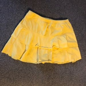 Vibrant Yellow Layered Skort w/ Elastic Waist.